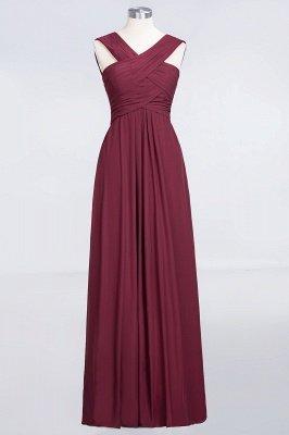 A-Line V-Neck Straps Sleeveless Floor-Length  Bridesmaid Dress with Ruffles_1