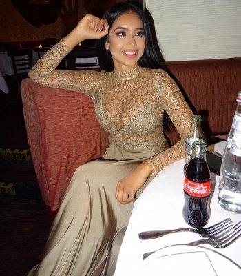 Elegant Long Sleeves High Neck Appliques Prom Dress_3