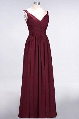 A-Line Straps V-Neck Sleeveless Backless Floor-Length  Bridesmaid Dress with Ruffles_4