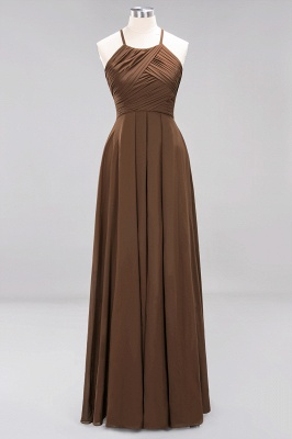 A-Line  Halter Ruffles Floor-Length Bridesmaid Dress_12