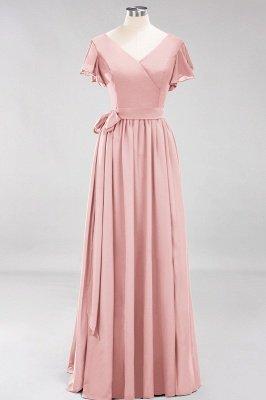 elegant A-line  V-Neck Short-Sleeves Floor-Length Bridesmaid Dresses with Bow Sash_6