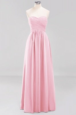 A-line  Sweetheart Strapless Ruffles Floor-length Bridesmaid Dress_4