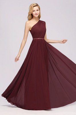 Fashion A-Line One-Shoulder Bridesmaid Dresses | Chiffon Sleeveless Beaded Wedding Party Dresses_11