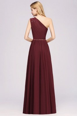 Fashion A-Line One-Shoulder Bridesmaid Dresses | Chiffon Sleeveless Beaded Wedding Party Dresses_10