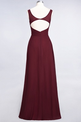 A-Line V-Neck Straps Sleeveless Ruffles Floor-Length  Bridesmaid Dress with Open Back_3