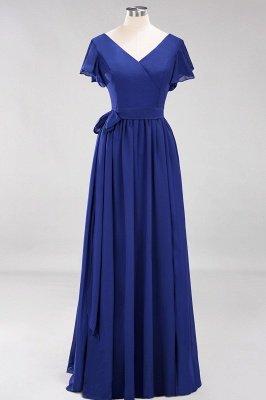 elegant A-line  V-Neck Short-Sleeves Floor-Length Bridesmaid Dresses with Bow Sash_25