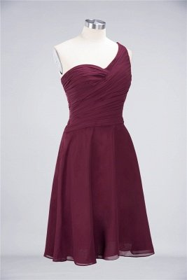 A-Line One-Shoulder Sweetheart Sleeveless Knee-Length  Bridesmaid Dress with Ruffles_37