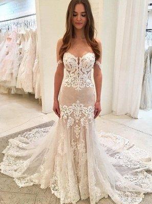 Stunning Appliques Floor-Length Sweetheart Mermaid Wedding Dress_1