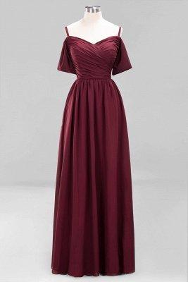 A-Line  V-Neck Spaghetti Straps Short-Sleeves Floor-Length Bridesmaid Dresses with Ruffles_9