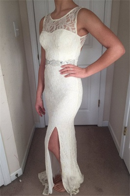Stunning Straps Sleeveless Round Neck Front Slipt Prom Dress_1