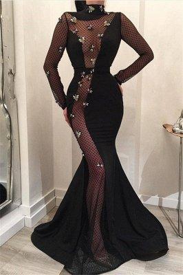 Stylish High Neck Long Sleeves Mermaid Prom Dress_1