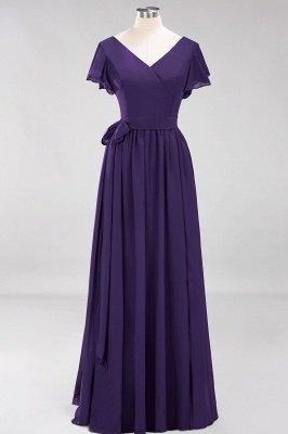 elegant A-line  V-Neck Short-Sleeves Floor-Length Bridesmaid Dresses with Bow Sash_18