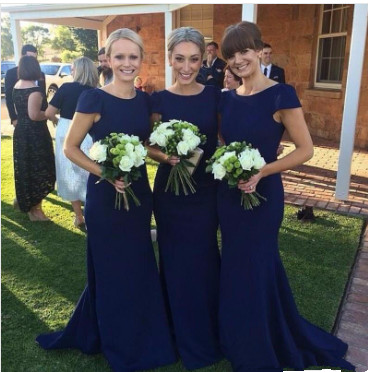 Fashion Short Sleeves Royal Blue Mermaid Floor-Length Bridesmaid Dress_1
