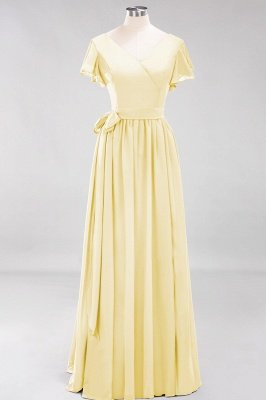 elegant A-line  V-Neck Short-Sleeves Floor-Length Bridesmaid Dresses with Bow Sash_17