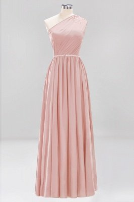 Fashion A-Line One-Shoulder Bridesmaid Dresses | Chiffon Sleeveless Beaded Wedding Party Dresses_3