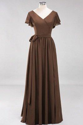 elegant A-line  V-Neck Short-Sleeves Floor-Length Bridesmaid Dresses with Bow Sash_12
