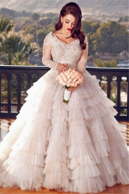 Charming Ball Gown Long Sleeves Appliques Wedding Dress_1