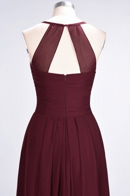 A-Line Halter V-Neck Sleeveless Floor-Length  Bridesmaid Dress with Ruffles_7