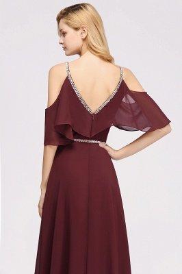 elegant A-line  V-Neck Spaghetti Straps Sleeveless Floor-Length Bridesmaid Dresses with Beading Sash_4
