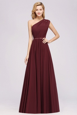 Fashion A-Line One-Shoulder Bridesmaid Dresses | Chiffon Sleeveless Beaded Wedding Party Dresses_9