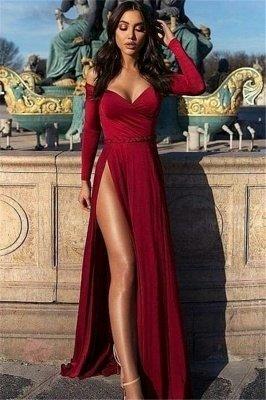 Charming Off-the-Shoulder V-Neck Long Sleeves Front Slipt Prom Dress_1