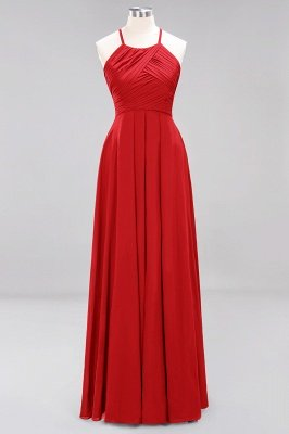 A-Line  Halter Ruffles Floor-Length Bridesmaid Dress_8