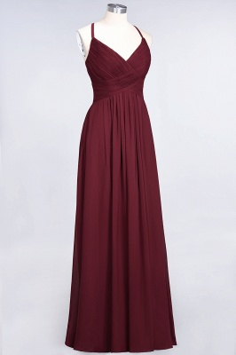 A-Line Spaghetti-Straps V-Neck Sleeveless Floor-Length  Bridesmaid Dress with Ruffles_37