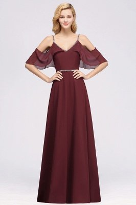elegant A-line  V-Neck Spaghetti Straps Sleeveless Floor-Length Bridesmaid Dresses with Beading Sash_1