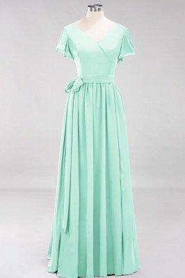 elegant A-line  V-Neck Short-Sleeves Floor-Length Bridesmaid Dresses with Bow Sash_34