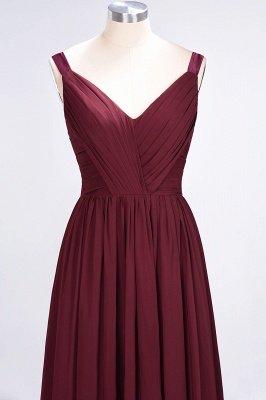 A-Line Straps V-Neck Sleeveless Backless Floor-Length  Bridesmaid Dress with Ruffles_5