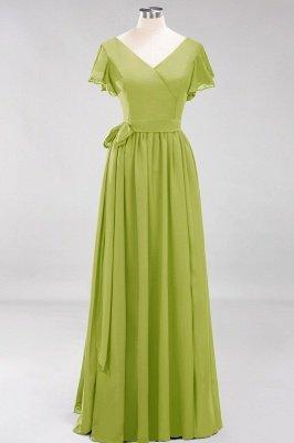 elegant A-line  V-Neck Short-Sleeves Floor-Length Bridesmaid Dresses with Bow Sash_32