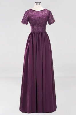A-line  Lace Jewel Short-Sleeves Floor-length Bridesmaid Dress_19