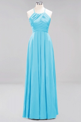 A-Line  Halter Ruffles Floor-Length Bridesmaid Dress_23