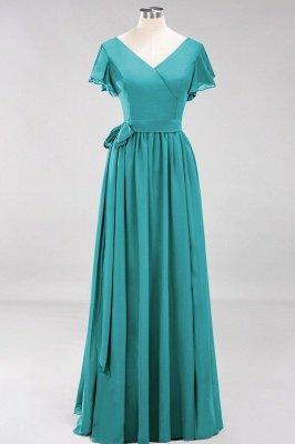 elegant A-line  V-Neck Short-Sleeves Floor-Length Bridesmaid Dresses with Bow Sash_31