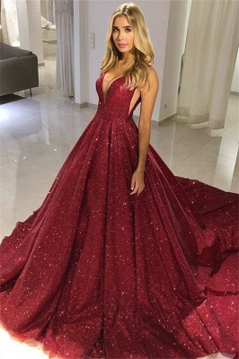 Fashion Straps Sleeveless A-Line V-Neck Floor-Length Prom Dress