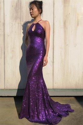 Glamorous Purple Halter Sleeveless Mermaid Floor-Length Prom Dress_3