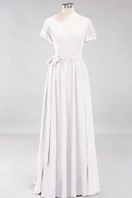 elegant A-line  V-Neck Short-Sleeves Floor-Length Bridesmaid Dresses with Bow Sash_1