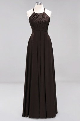A-Line  Halter Ruffles Floor-Length Bridesmaid Dress_11