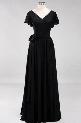 elegant A-line  V-Neck Short-Sleeves Floor-Length Bridesmaid Dresses with Bow Sash_28