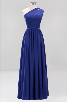 Fashion A-Line One-Shoulder Bridesmaid Dresses | Chiffon Sleeveless Beaded Wedding Party Dresses_7