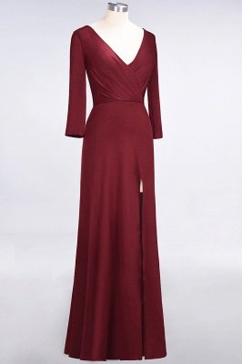 A-Line V-Neck Long-Sleeves Side-Slit Floor-Length Spandex Bridesmaid Dress with Ruffles_33