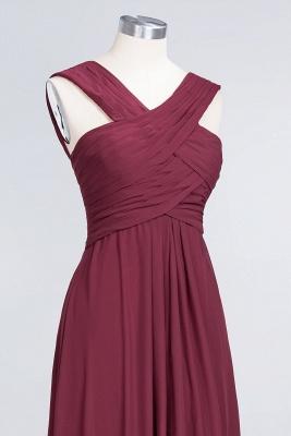 A-Line V-Neck Straps Sleeveless Floor-Length  Bridesmaid Dress with Ruffles_5
