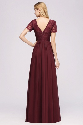 A-line  Lace Jewel Short-Sleeves Floor-length Bridesmaid Dress_36