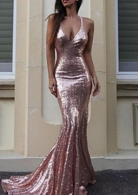 Sexy Sequins Mermaid Prom Dresses Deep V-Neck Long Evening Gowns_2