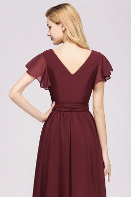 elegant A-line  V-Neck Short-Sleeves Floor-Length Bridesmaid Dresses with Bow Sash_7