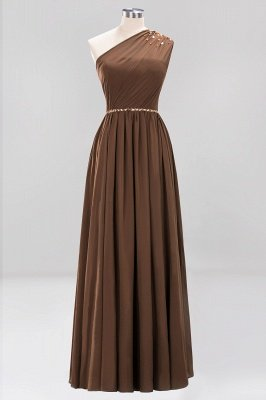 Fashion A-Line One-Shoulder Bridesmaid Dresses | Chiffon Sleeveless Beaded Wedding Party Dresses_4