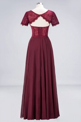 A-Line Round-Neck Short-Sleeves Floor-Length  Lace Bridesmaid Dress_2