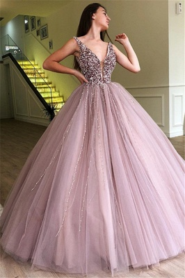 Stunning Straps Sleeveless Beading Tulle Ball Gown Prom Dress