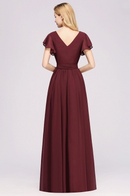 elegant A-line  V-Neck Short-Sleeves Floor-Length Bridesmaid Dresses with Bow Sash_2