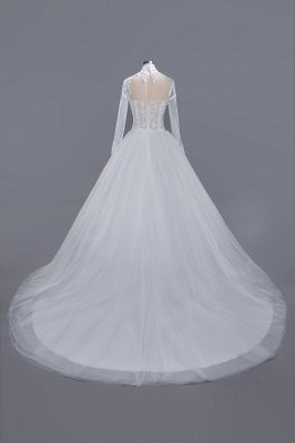 Glamorous Ball Gown High-Neck Long-Sleeves Tulle Lace Wedding Dress_2
